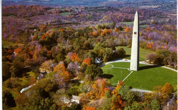 bennington battle monument from the air